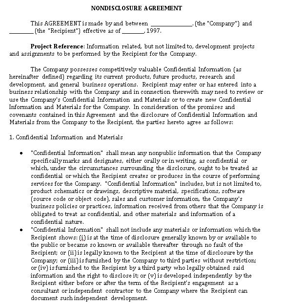 Personal Non Disclosure Agreement PDF