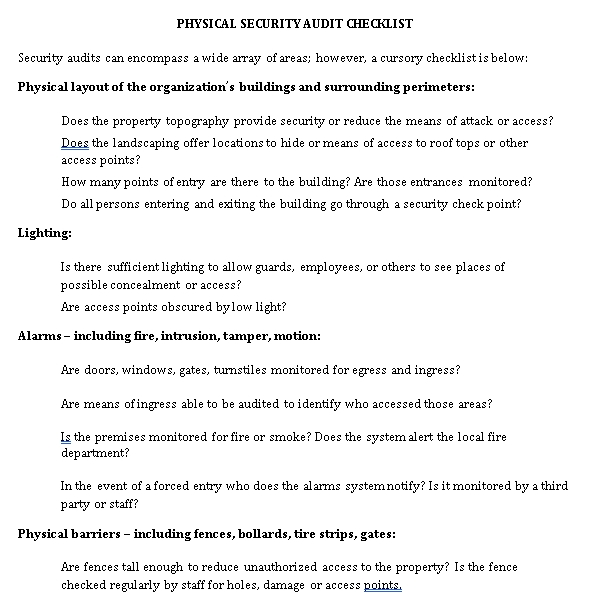 Physical Security Audit Checklist Template