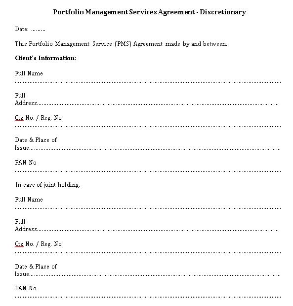 Portfolio Management Services Agreement