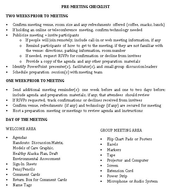 Pre Meeting Checklist Template