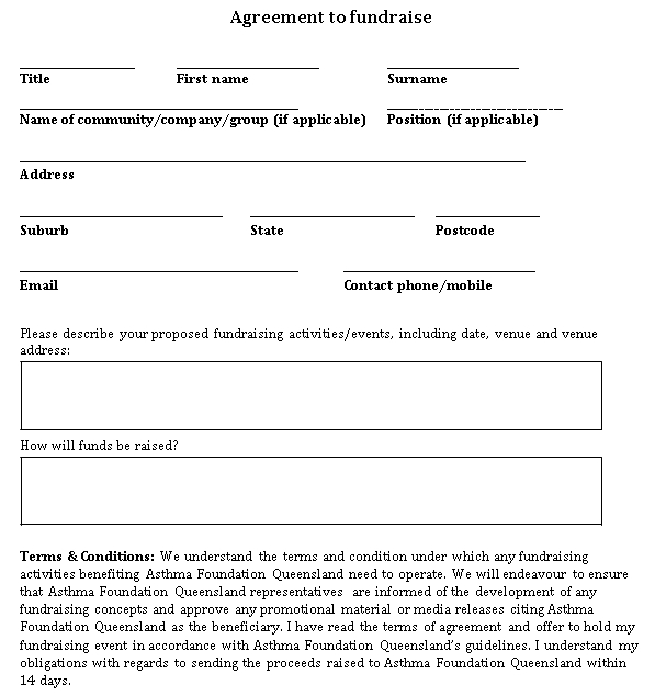 Printable Agreement to fundraise
