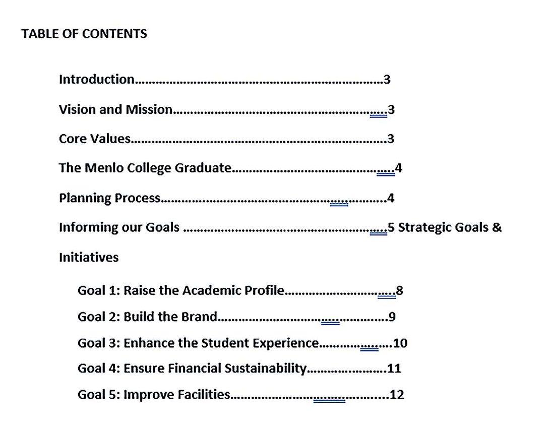 Printable College Strategic Plan