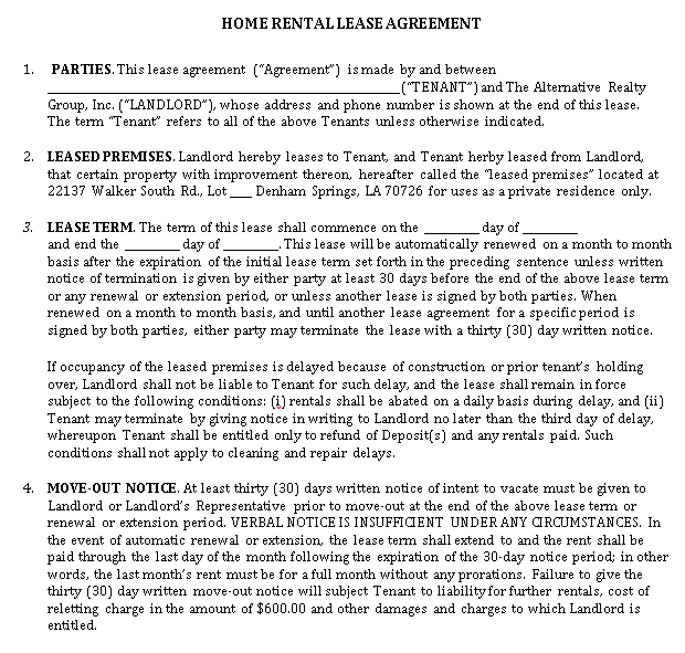Printable House Rental Lease Agreement in PDF