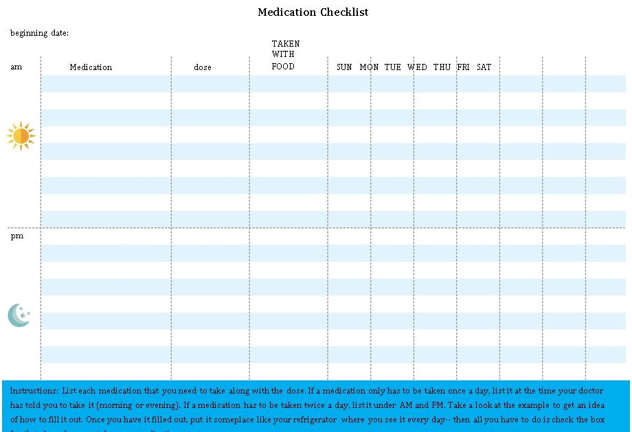 Printable Medication Checklist Sample