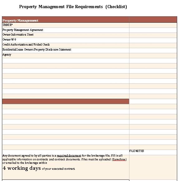 Printable Property Management Checklist