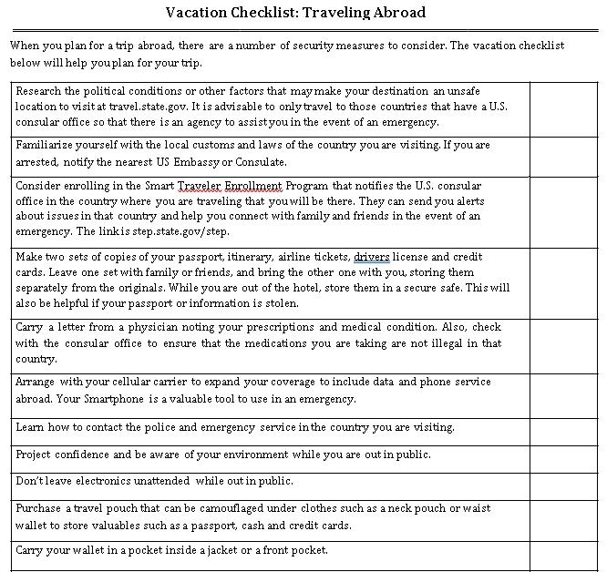 Printable Vacation Checklist