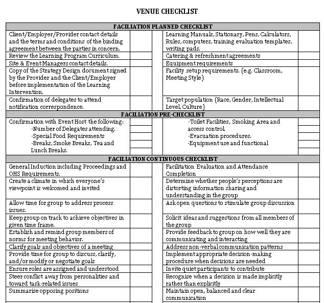 Printable Venue Checklist