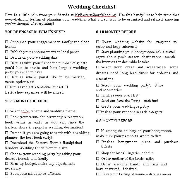 Printable Wedding Checklist 1
