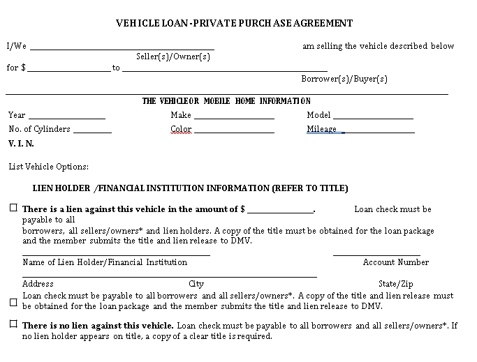 Private Vehicle Loan Agreement