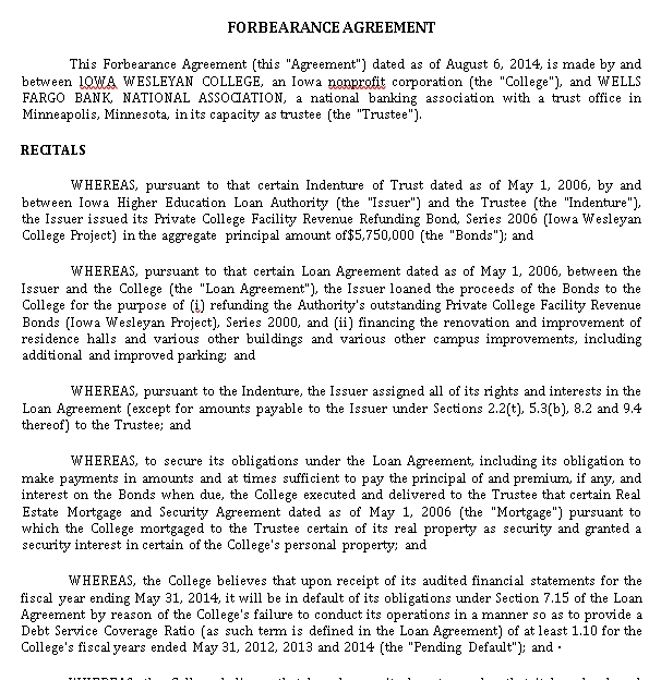 Professional Forbearance Agreement Template