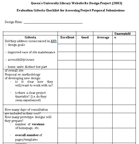 Project Criteria Evaluation Checklist