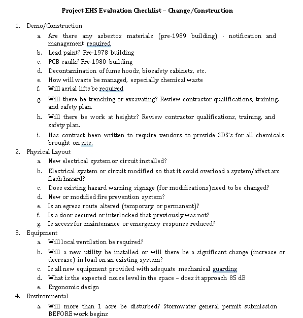 Project Evaluation Checklist for Construction