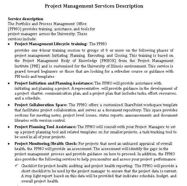 Project Management Service Level Agreement