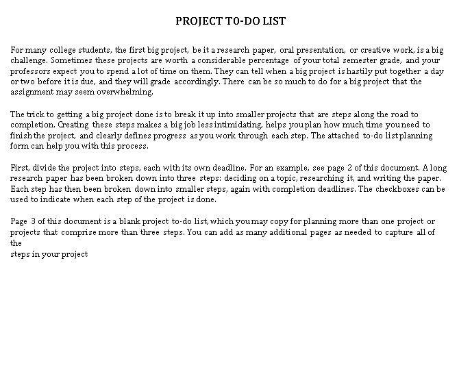 Project To Do Checklist Template