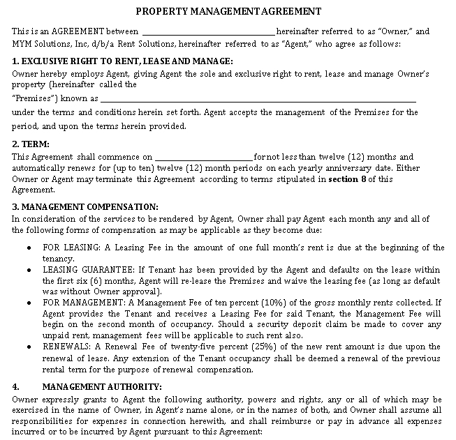 Property Agreement 1