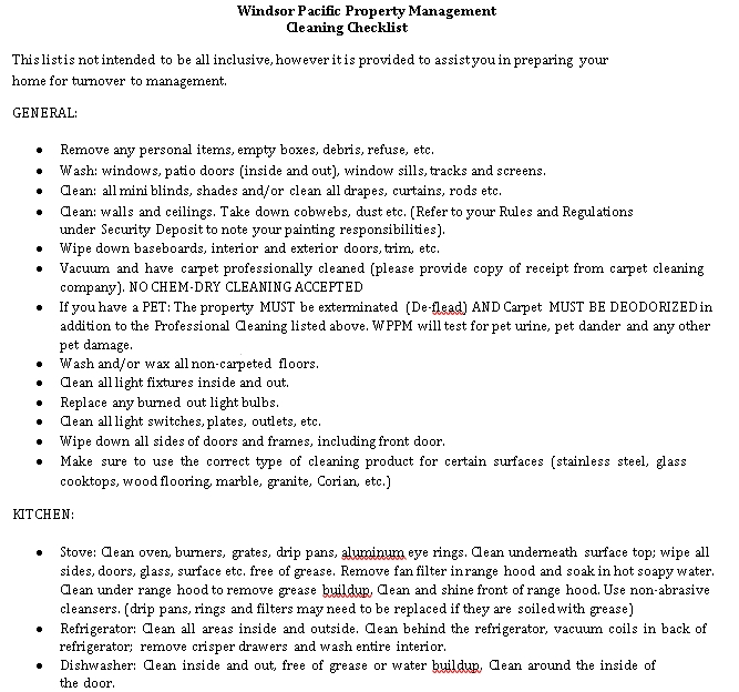 Property Management Cleaning Checklist