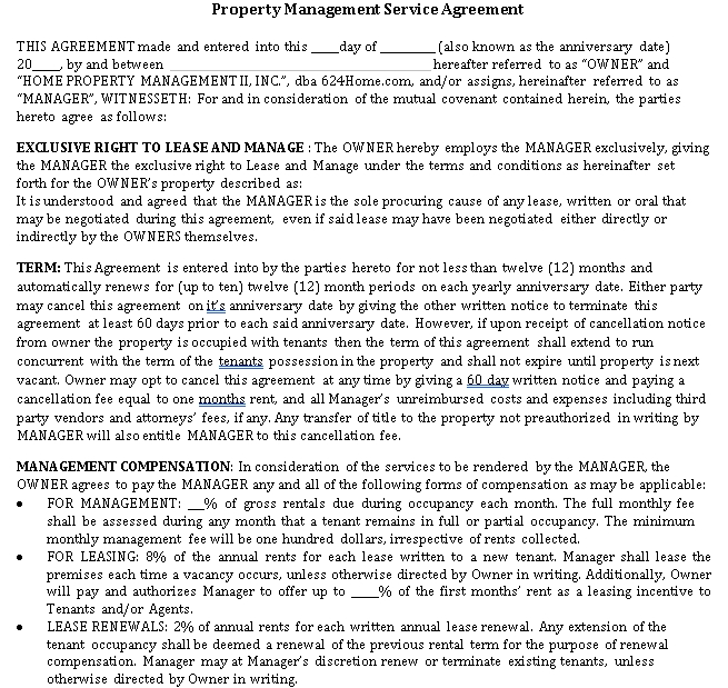 Property Management Service Agreement