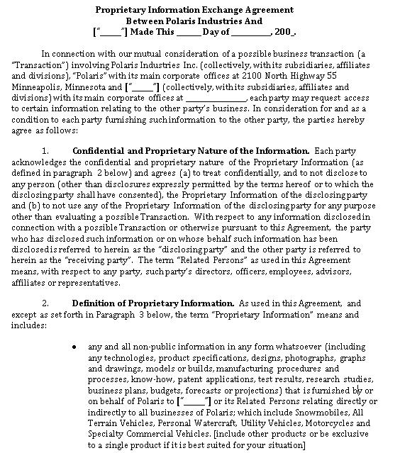 Proprietary Information Exchange Agreement