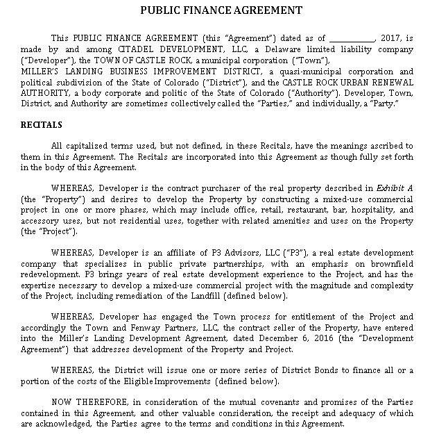 Public Finance Agreement