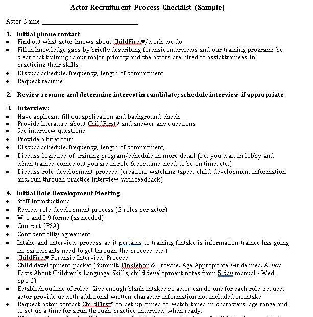 Recruitment Process Checklist Template