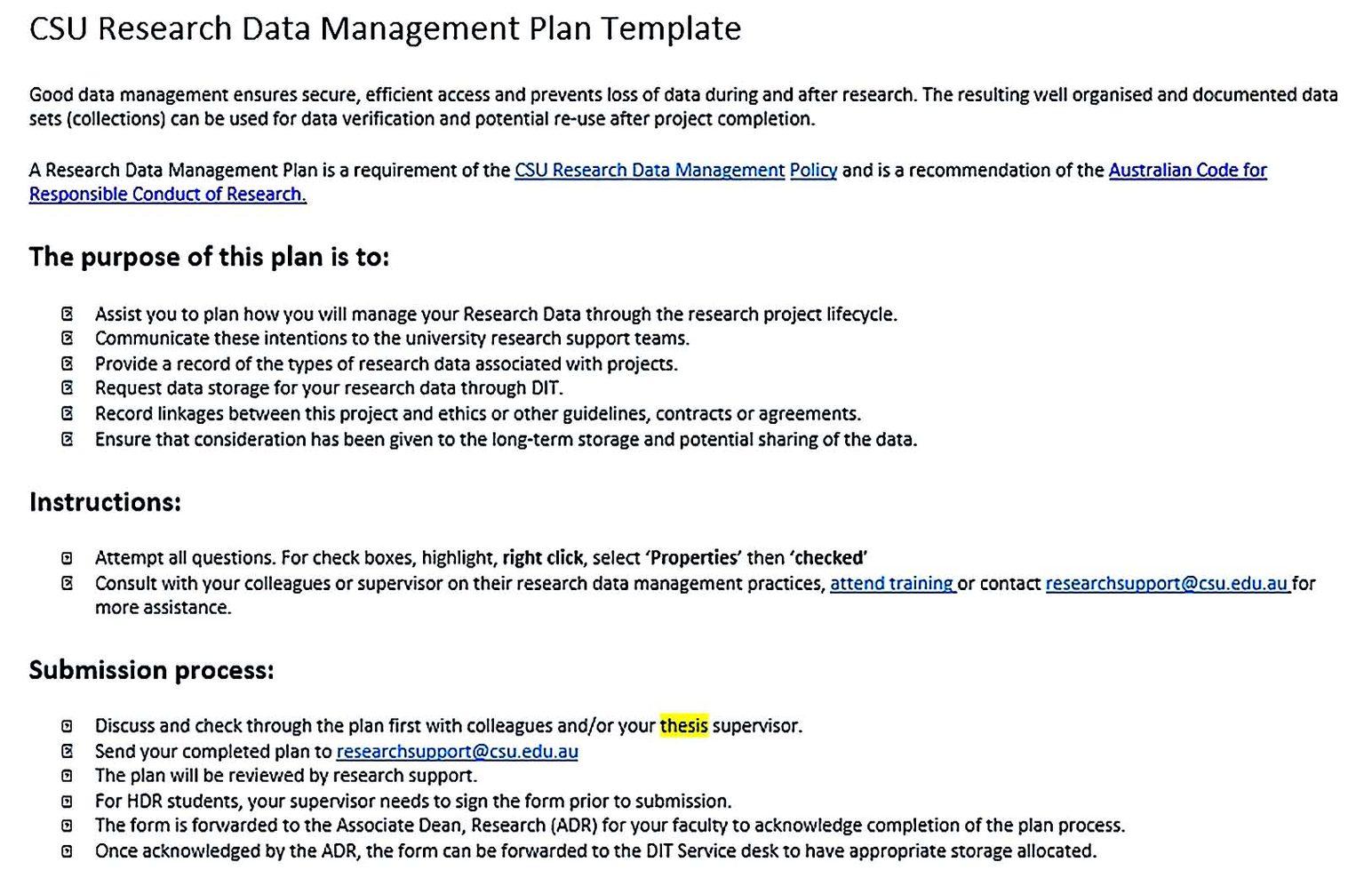 Research Data Management Plan