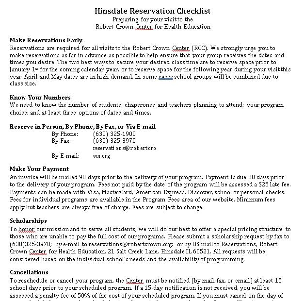 Reservation Checklist Template 10