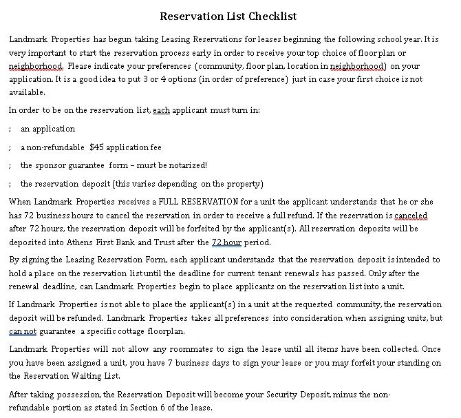 Reservation Checklist Template 3