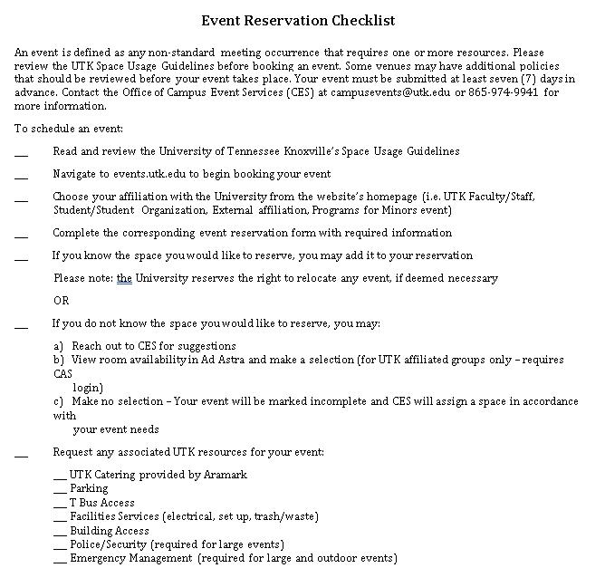 Reservation Checklist Template 4