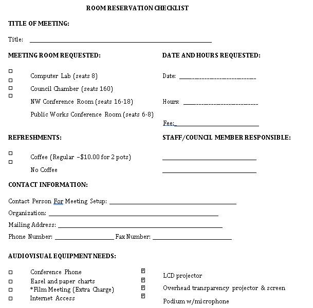 Reservation Checklist Template 5