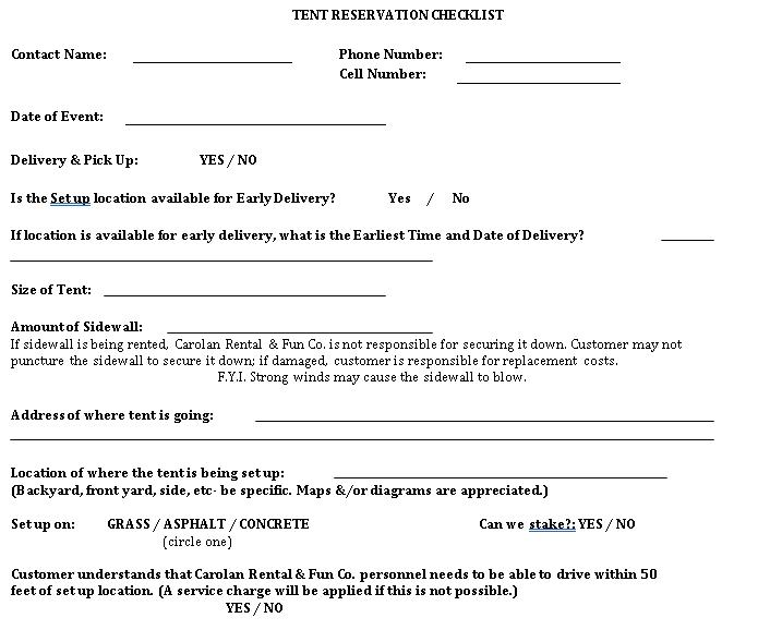 Reservation Checklist Template 9