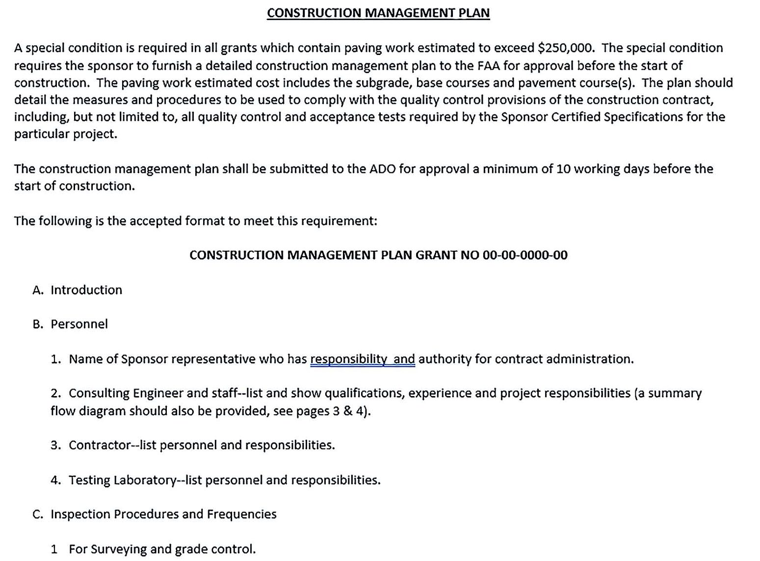 Residential Construction Management Plan Template