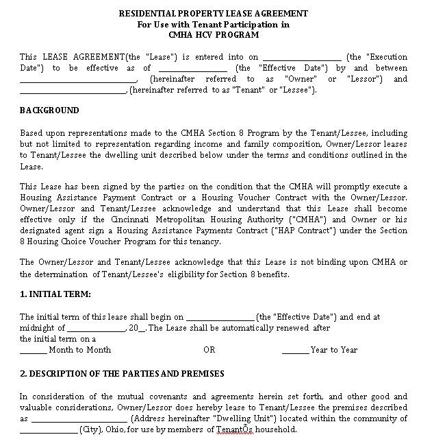 Residential Property Lease Agreement Example