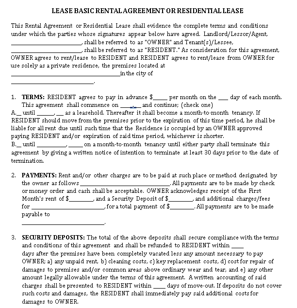 Residential Rental Lease Agreement Example