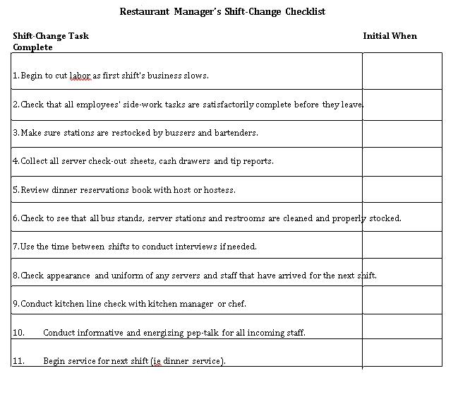 Restaurant Manager Shift Change Checklist