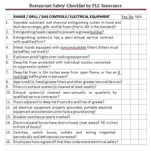 Restaurant Safety Checklist Template