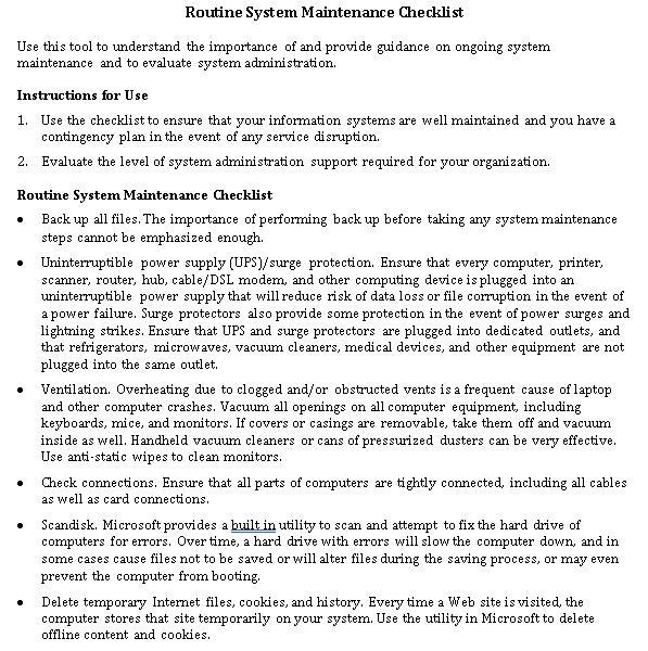 Routine System Maintenance Checklist DOC Format Template
