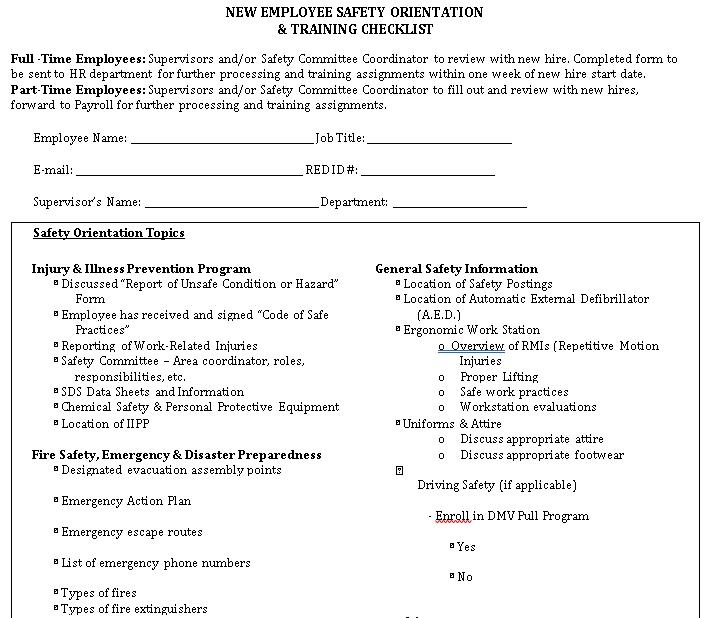 Safety Training Checklist PDF Format