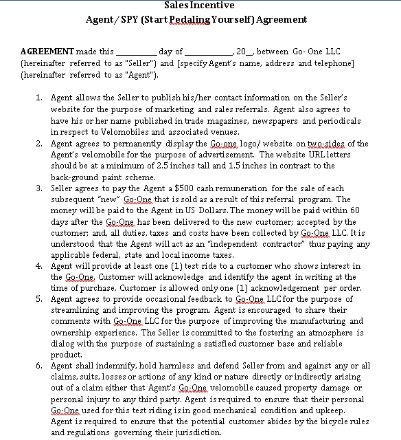 Sales Incentive Agreement Template