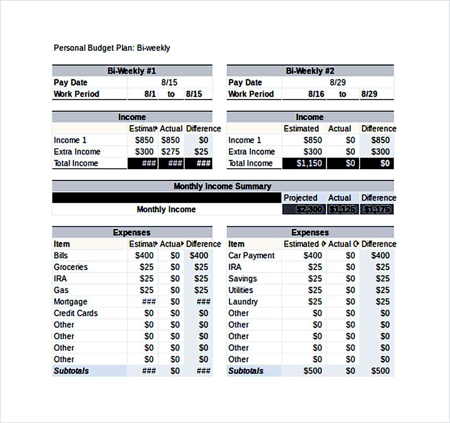 Sample Bi Weekly Personal Budget Excel File 1 1