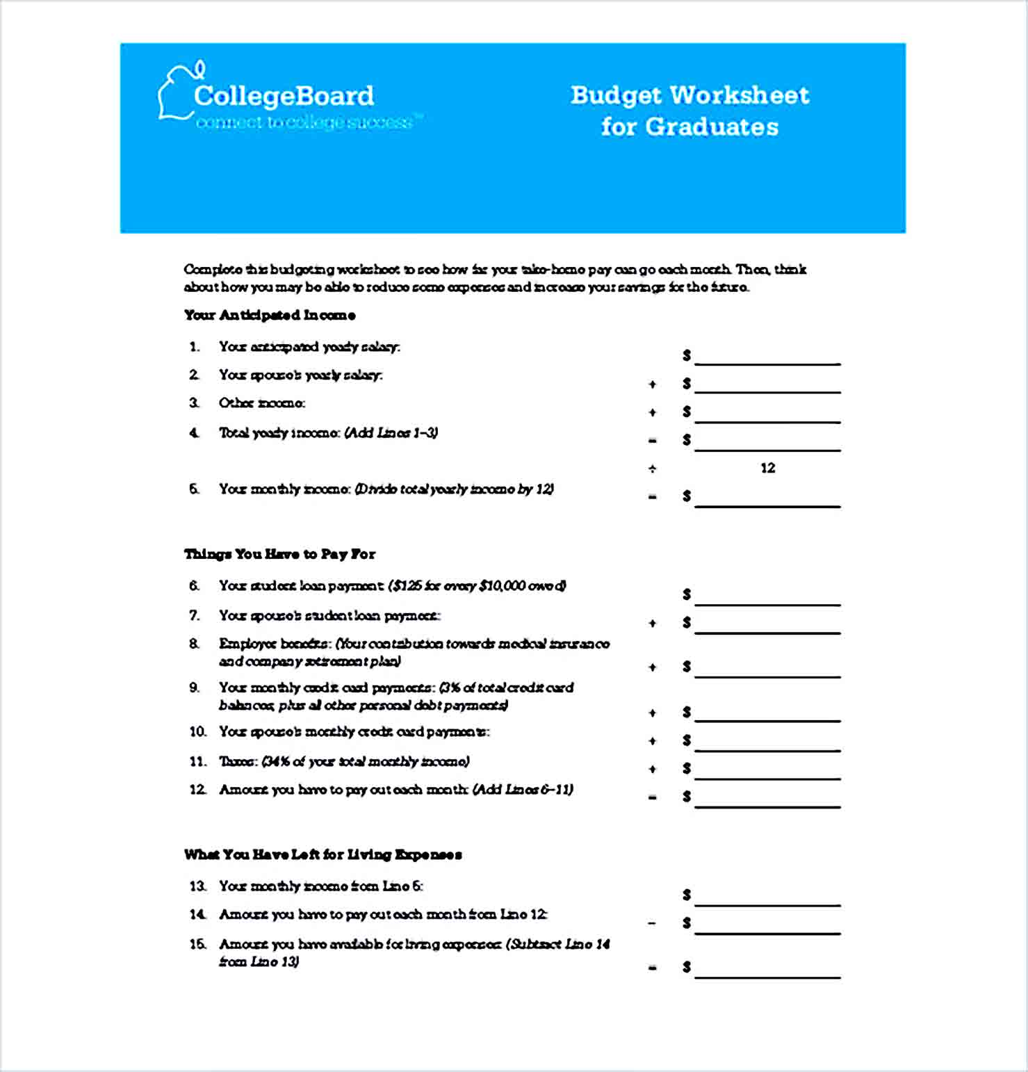 Sample Budget Worksheet for Graduates