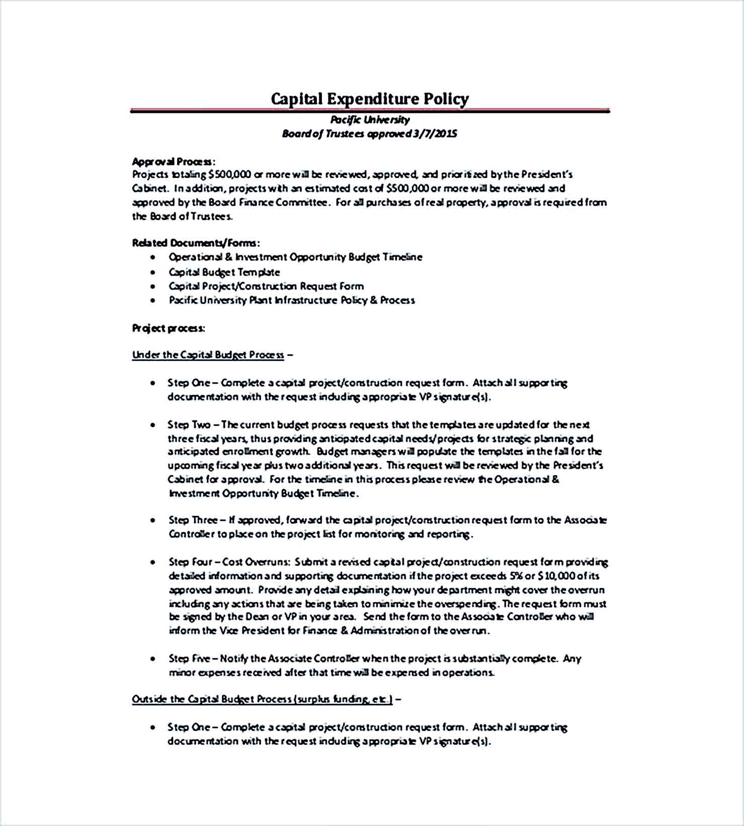 Sample Capital Expenditure Budget Policy