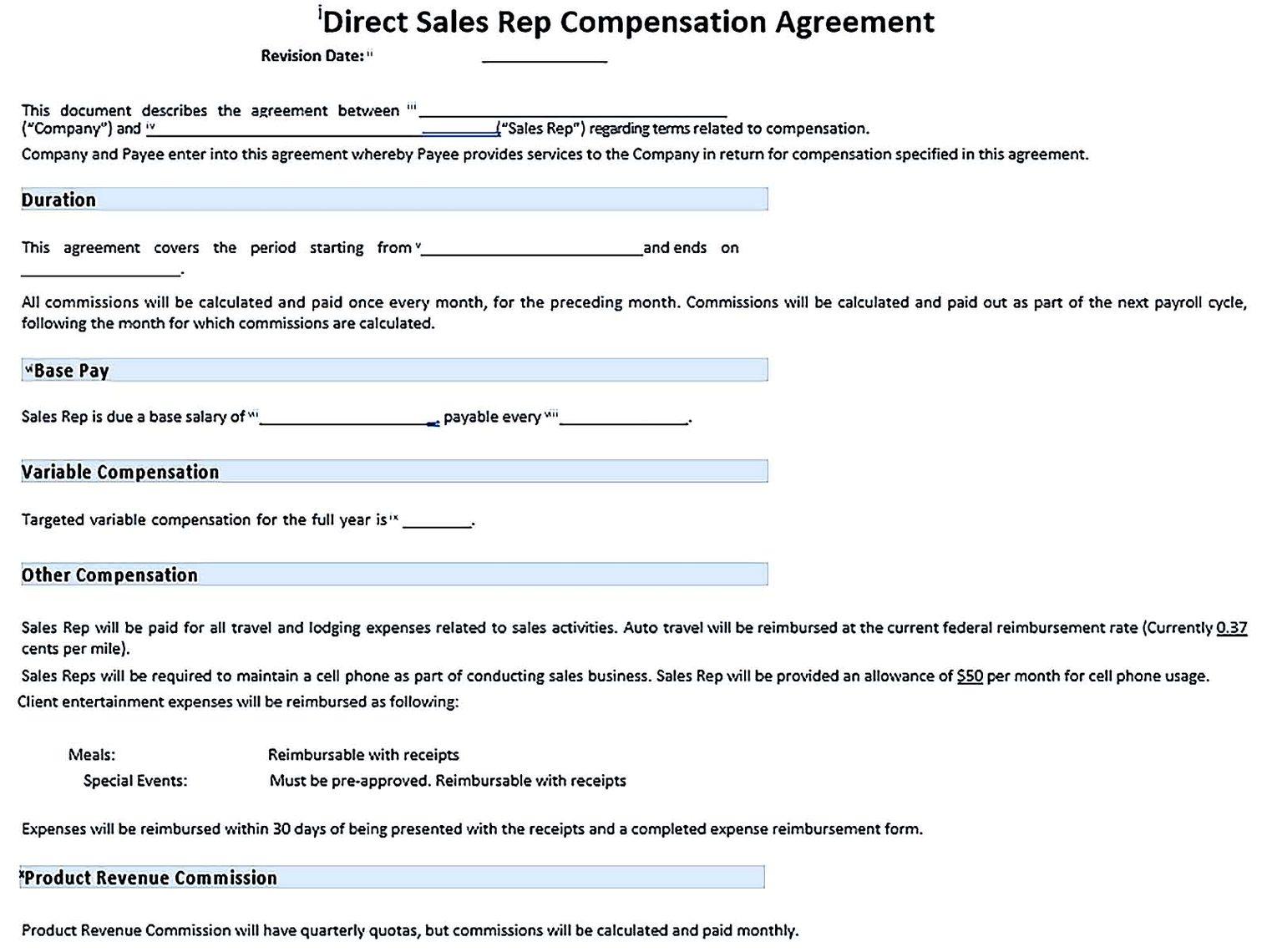 Sample Direct Sales Rep Compensation Plan Template