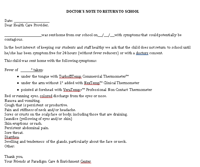 Sample Doctors Note for Student