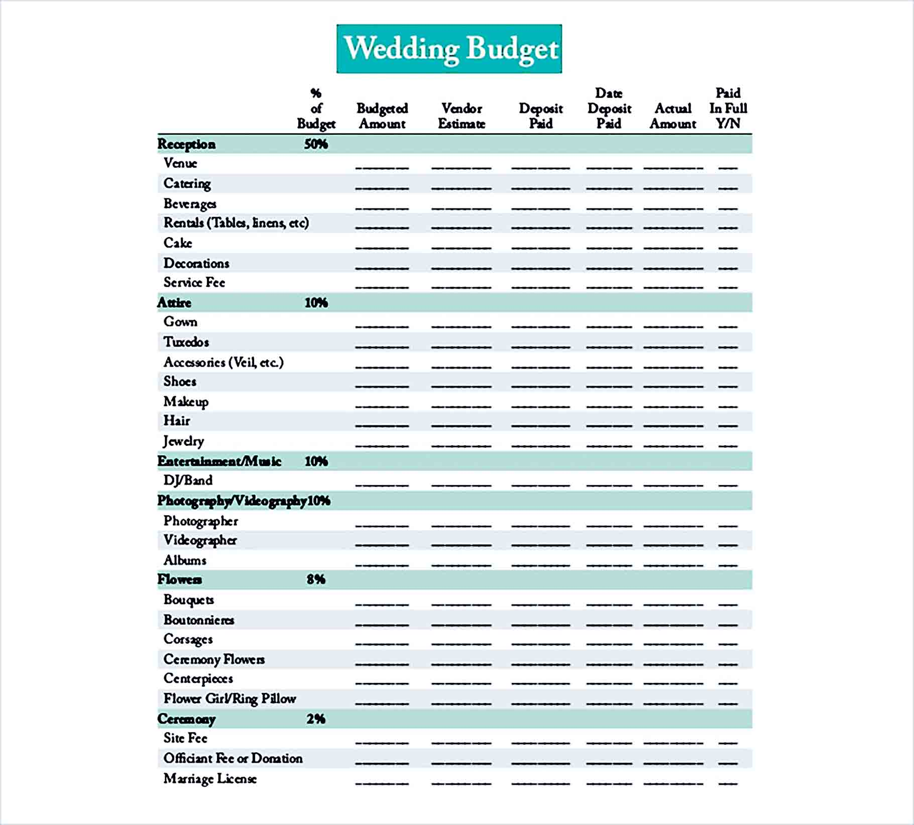 Sample Editable Wedding Budget Planner Free