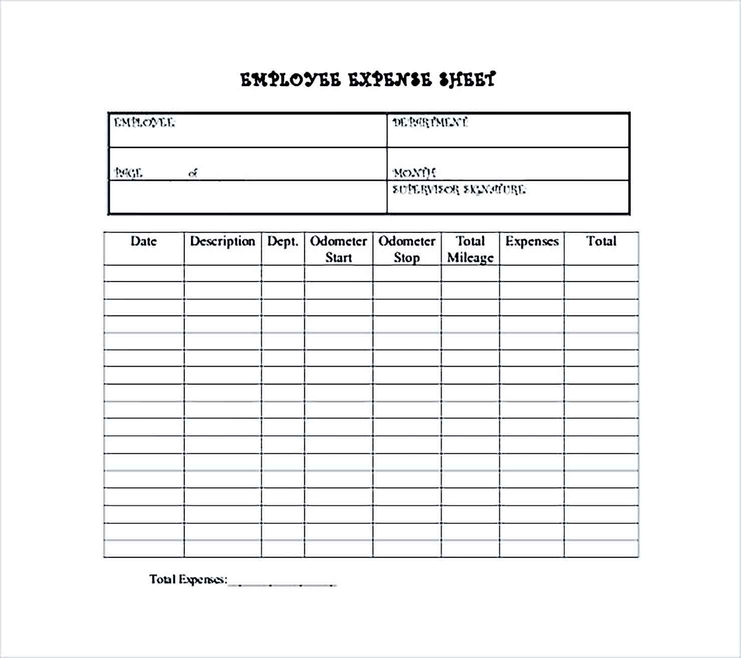 Sample Employee Expense Sheet