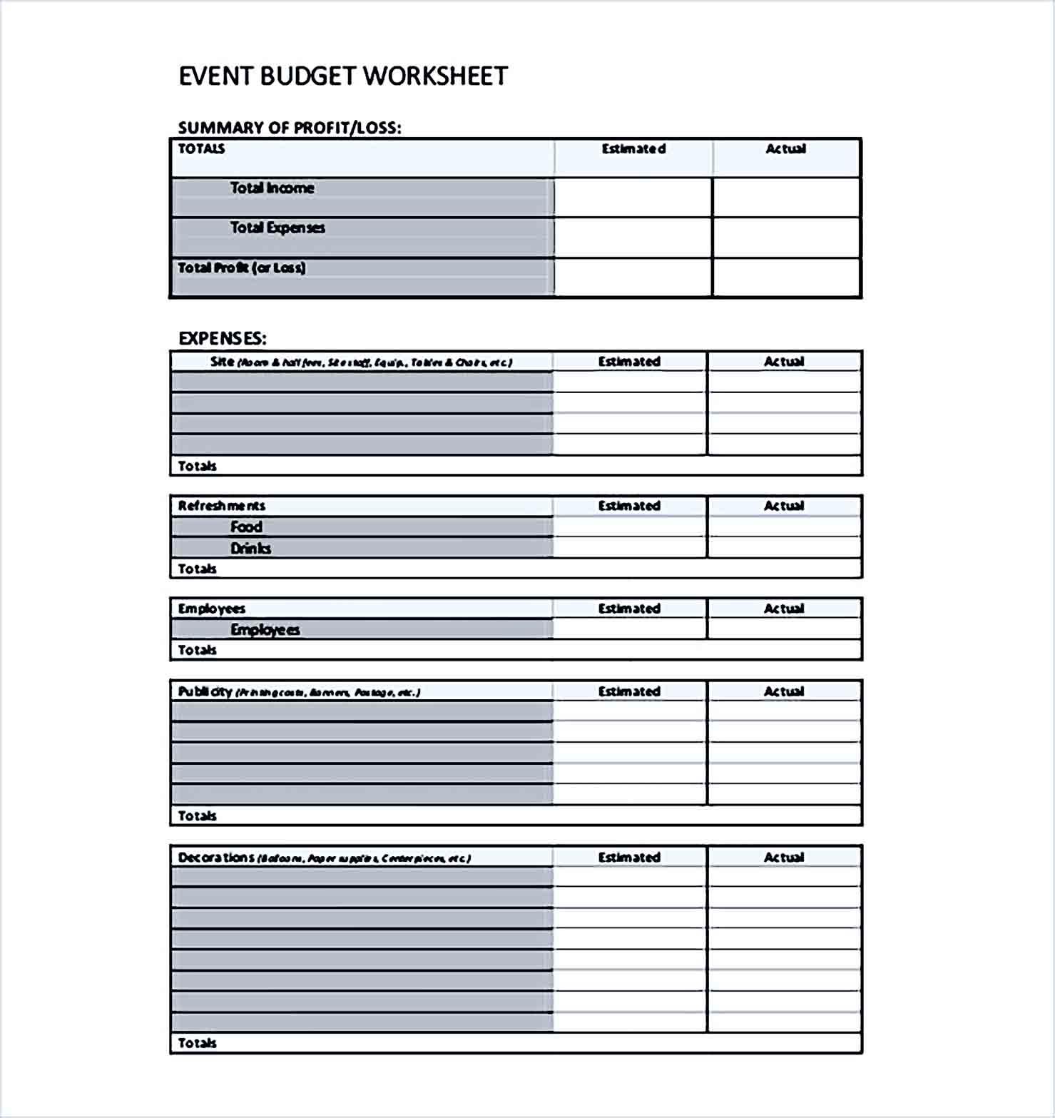 Sample Event Budget Worksheet