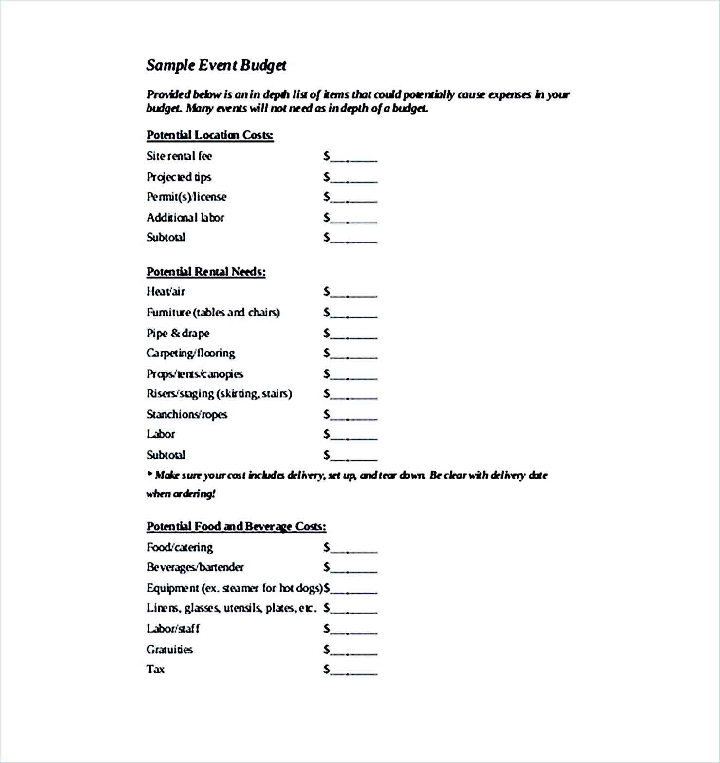 Sample Event Budget 002