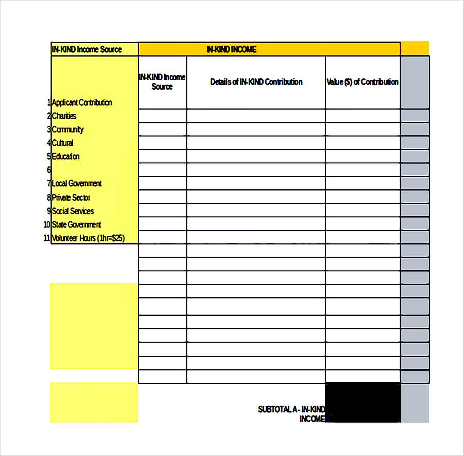 Sample Excel Budget