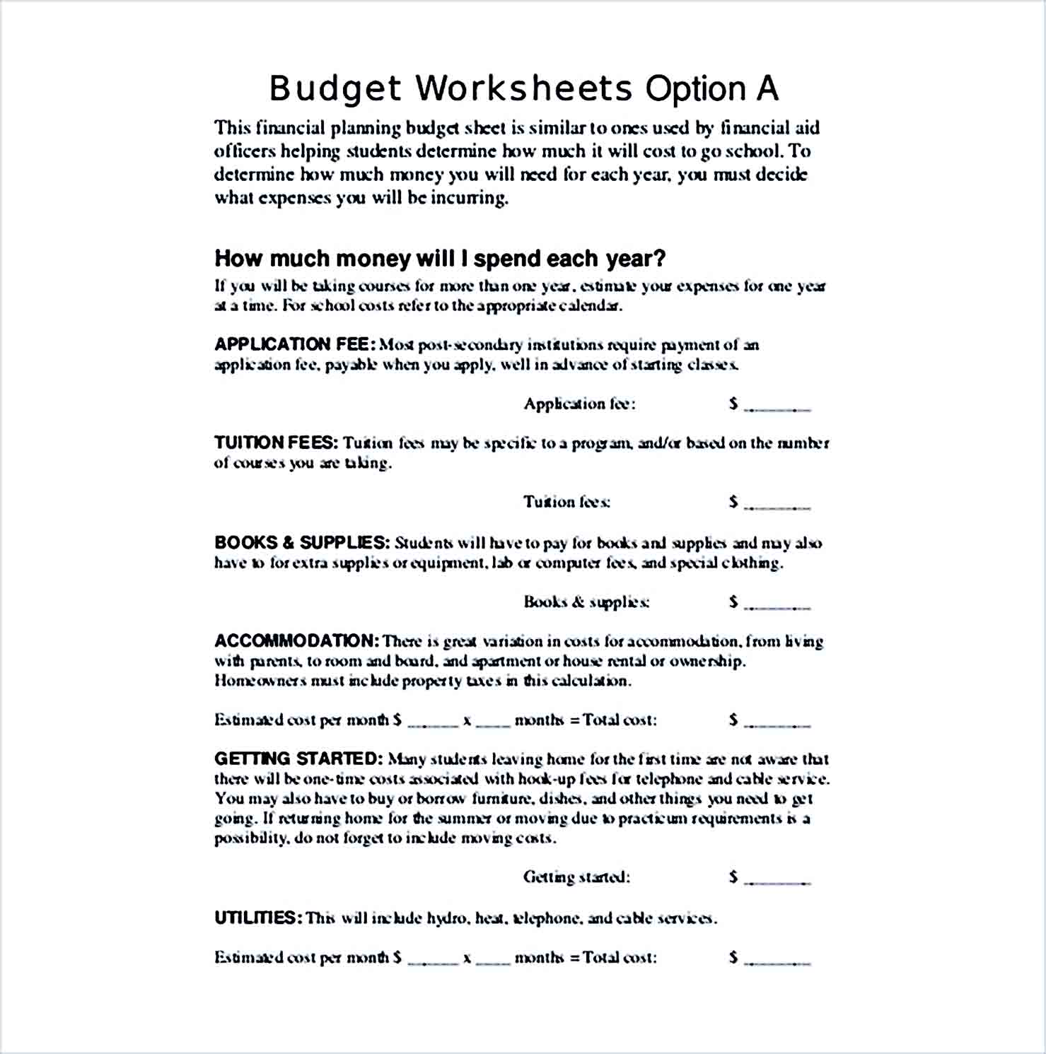 Sample FINANCIAL PLANNING BUDGET SHEET
