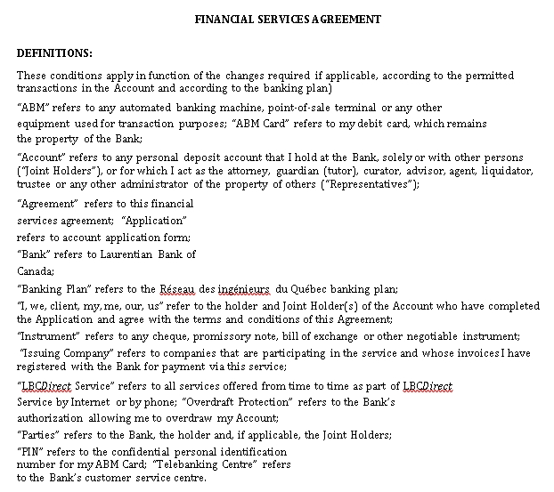 Sample Financial Services Agreement